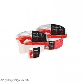 Десерт молочный «Panna cotta» с наполнителем клубника. Беллакт. Купить в Воронеже